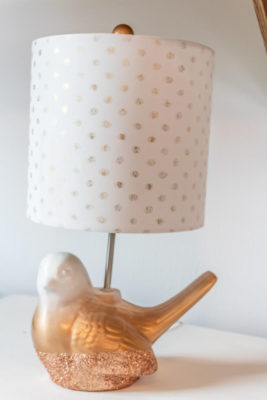 gold and pink ombre painted bird lamp