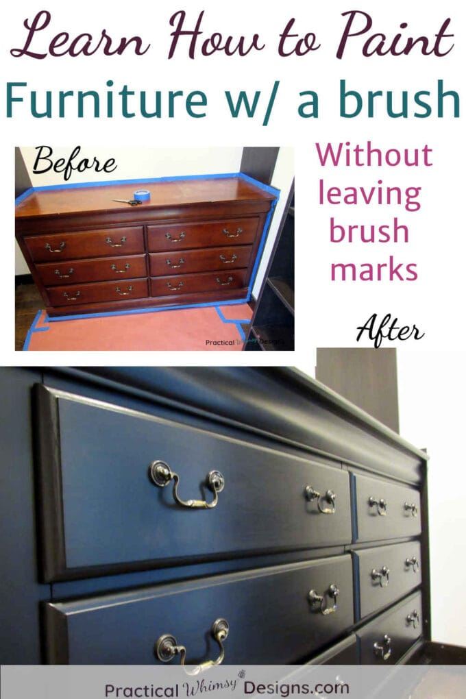 Dresser before and after paint. Learn how to paint furniture without leaving brush marks.