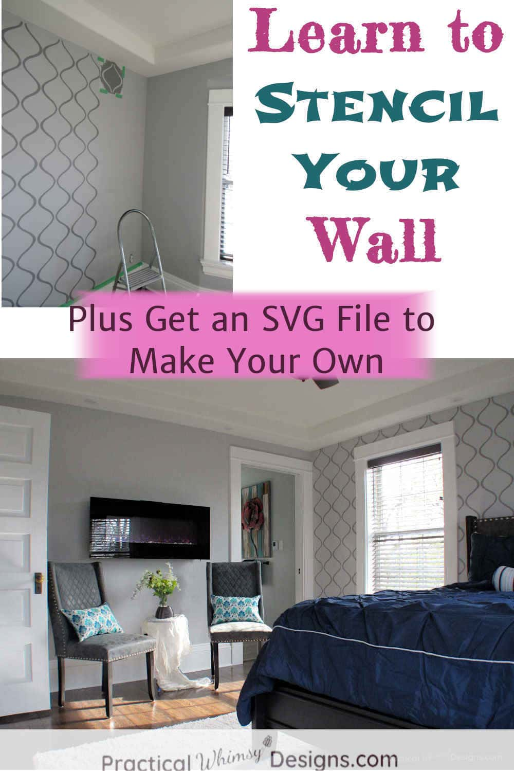 Learn to stencil your wall: grey wall with painted stencil in master bedroom