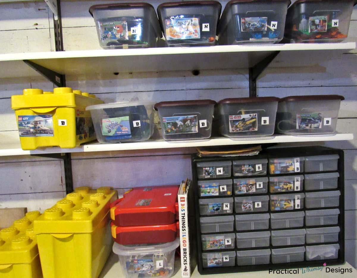 Legos organized in boxes