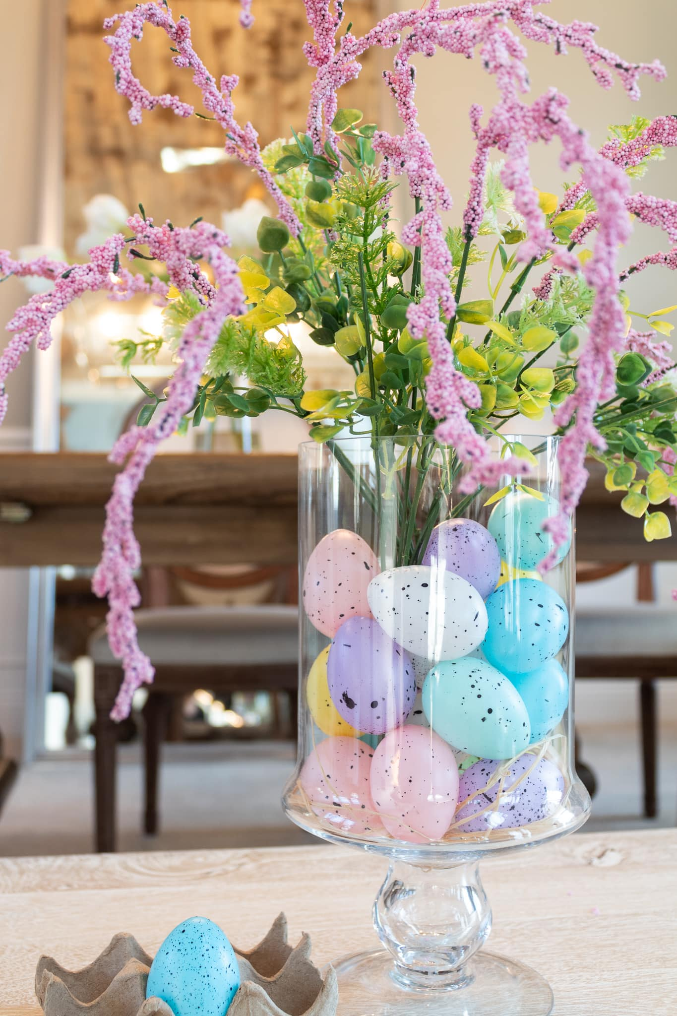 Easter eggs and flowers in a vase