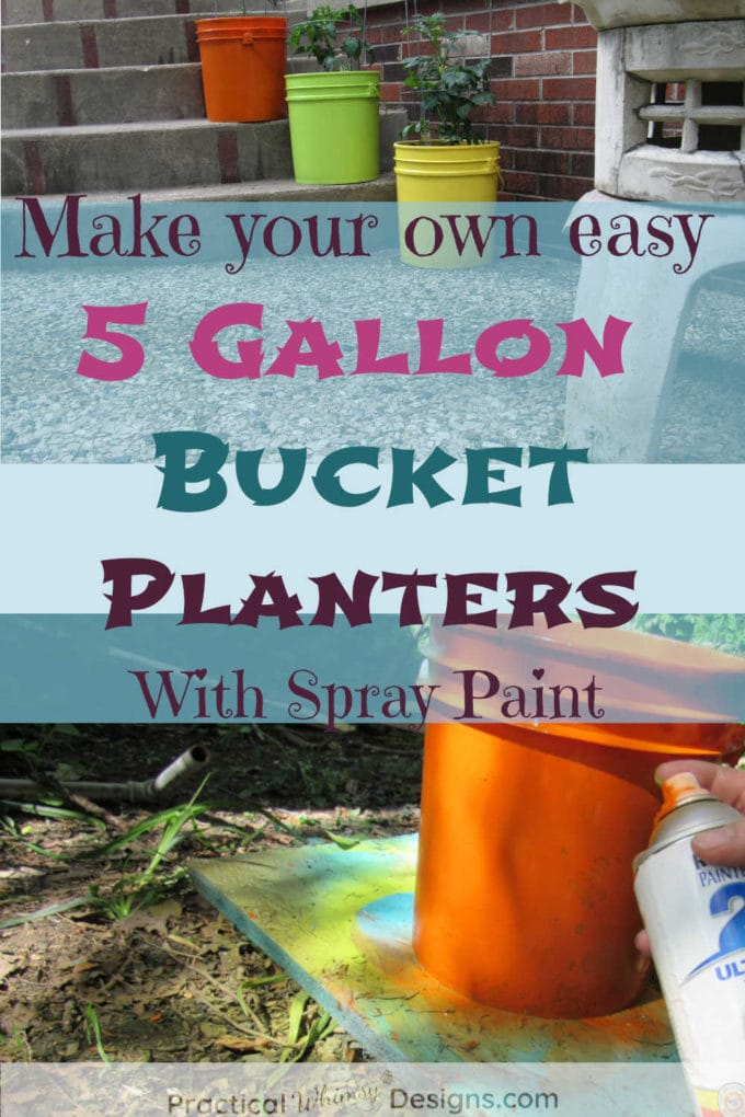 5 gallon bucket spray paint project for summer planters.