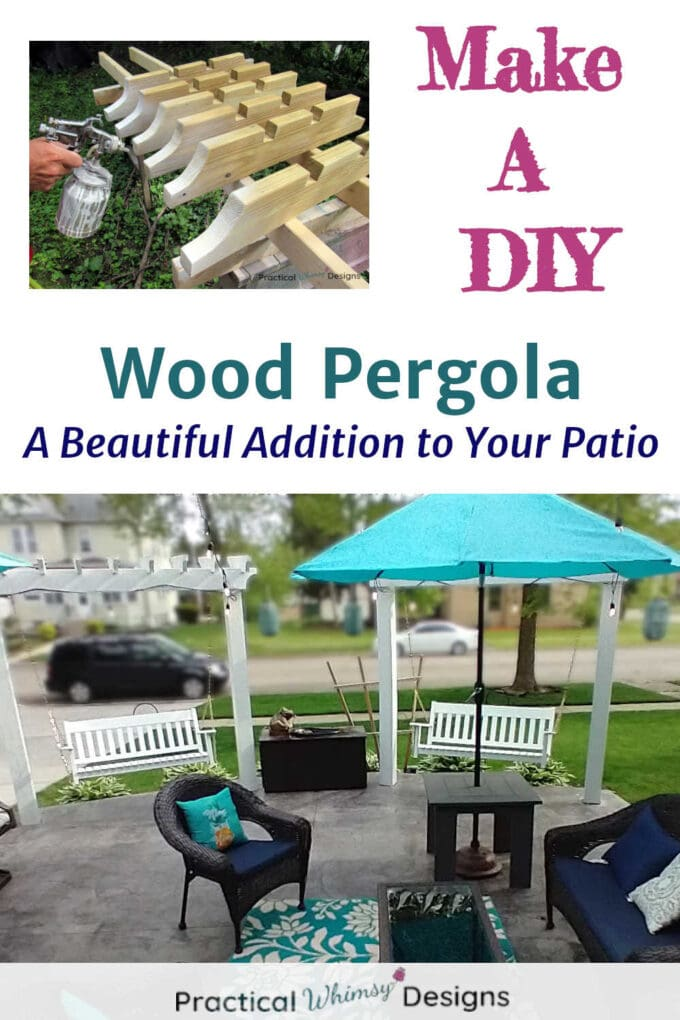 DIY wood pergola as a beautiful addition to your patio.
