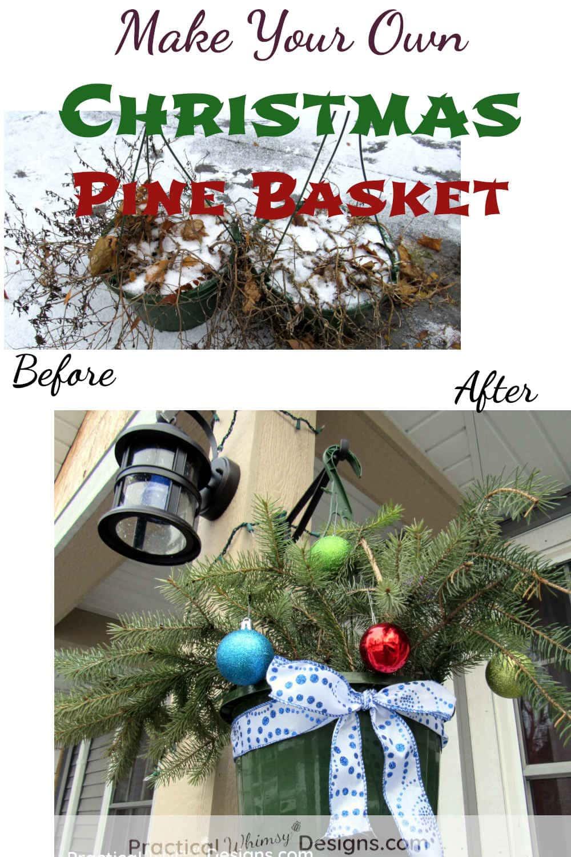 Christmas Pine Basket with bulbs and ribbon