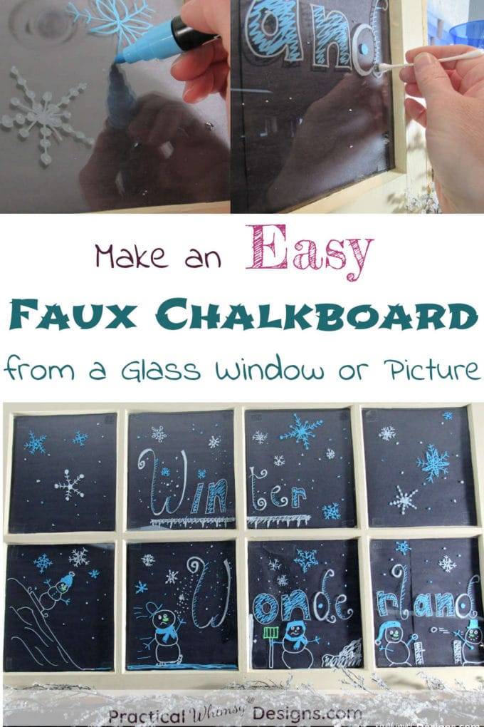 Make an easy faux chalkboard from a glass window or picture