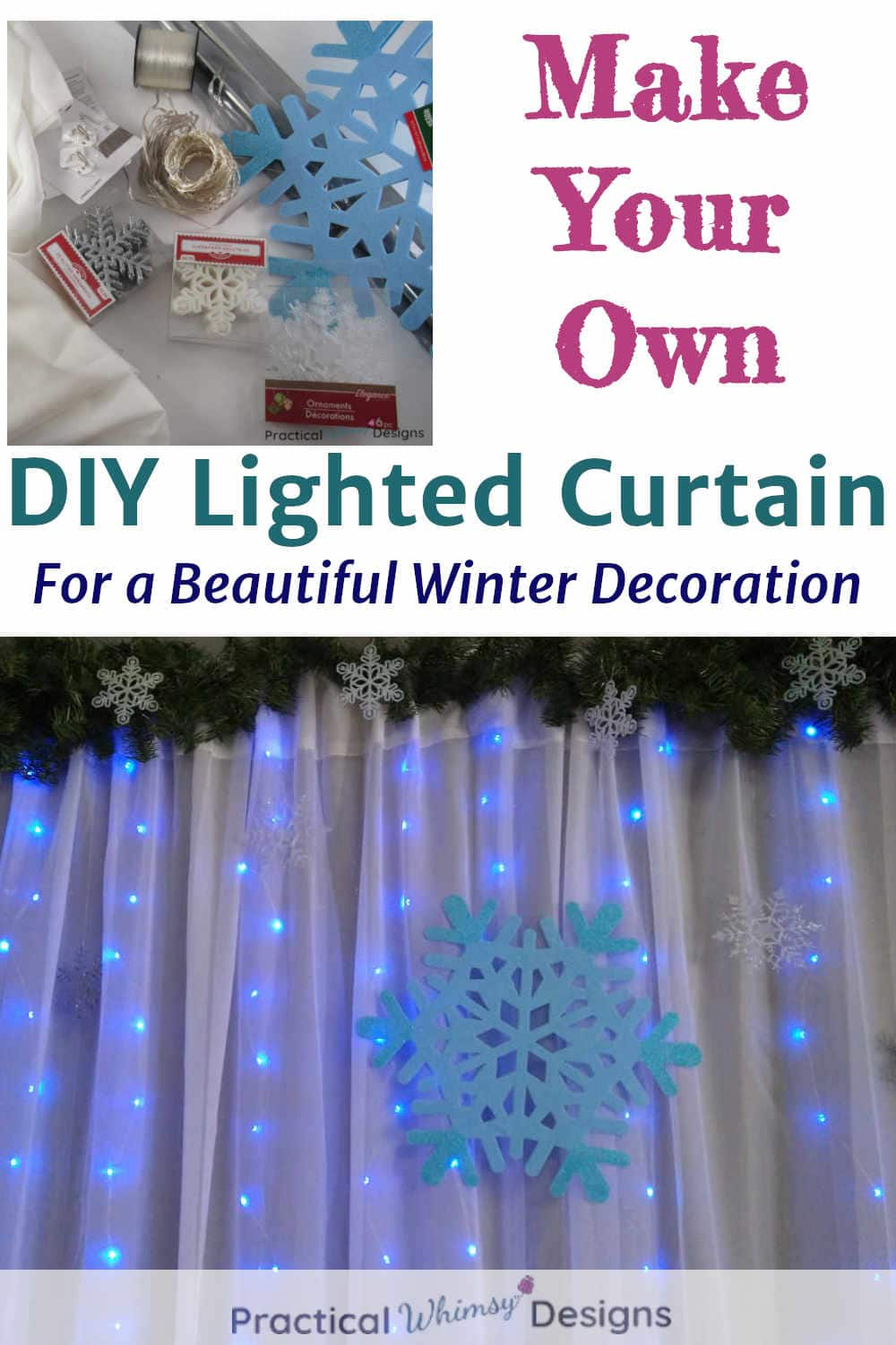 Make your own lighted snowflake curtain, Picture of supplies and finished curtain