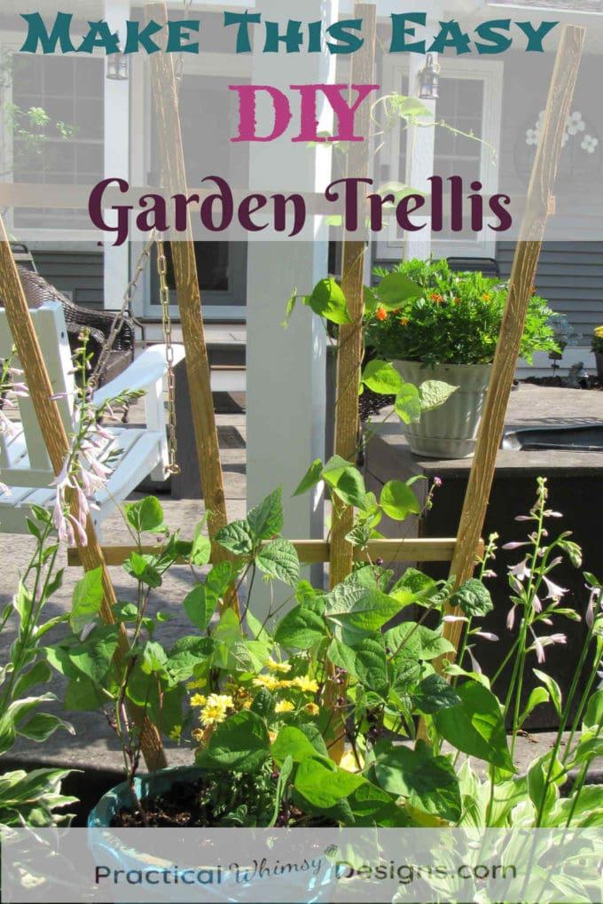 Easy DIY garden trellis by patio