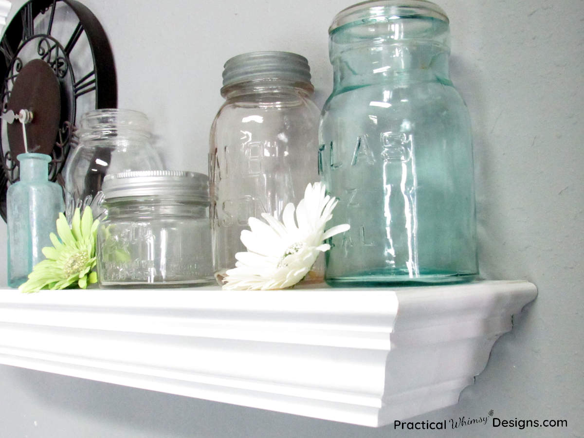 Mason Jar Decor Ideas: Jars on a shelf