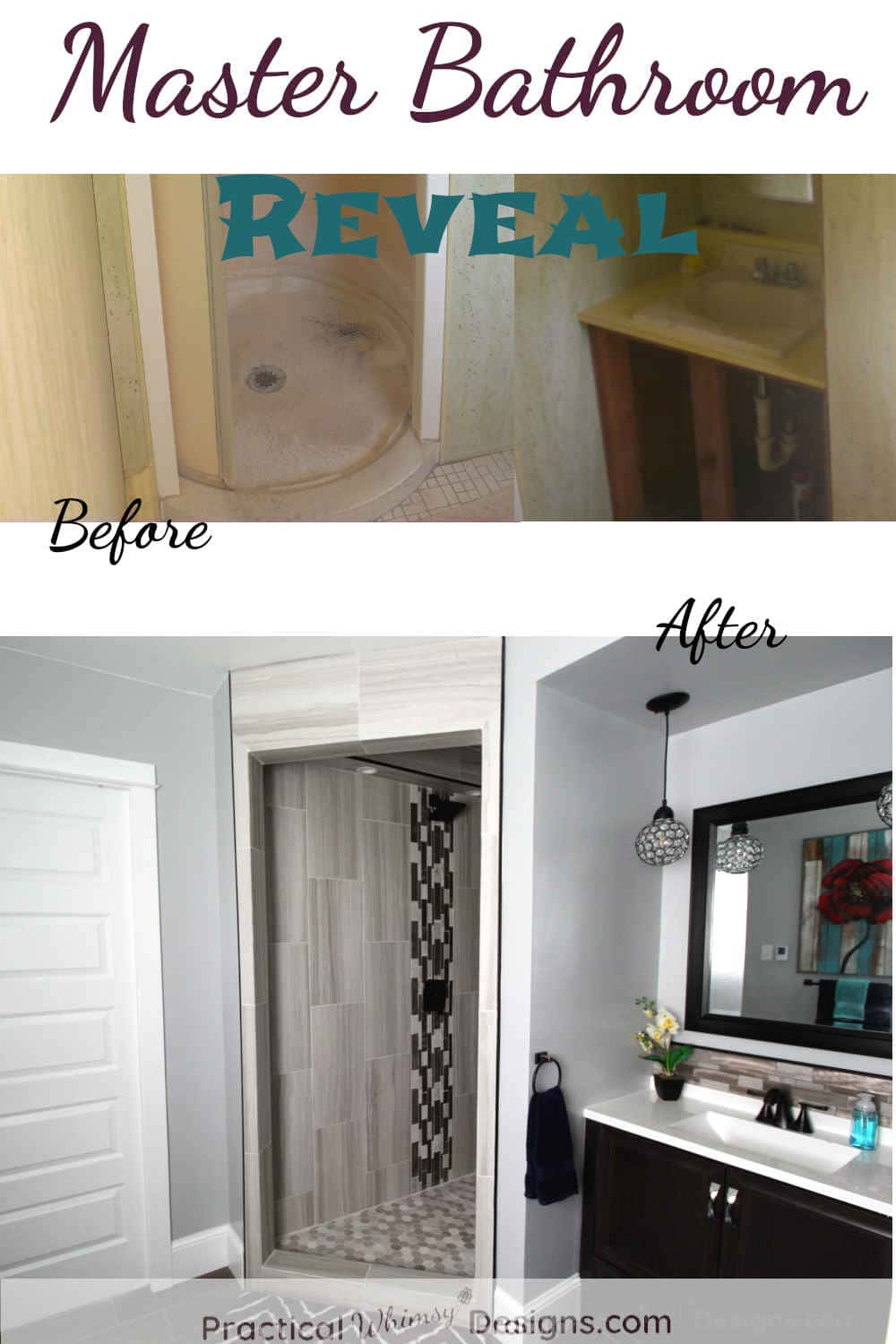 Master Bathroom Reveal before and after pictures