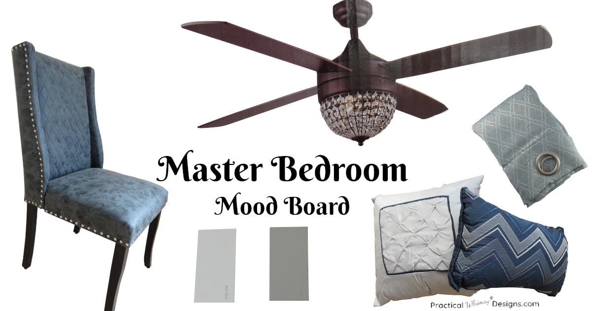 Master bedroom design plan and mood board