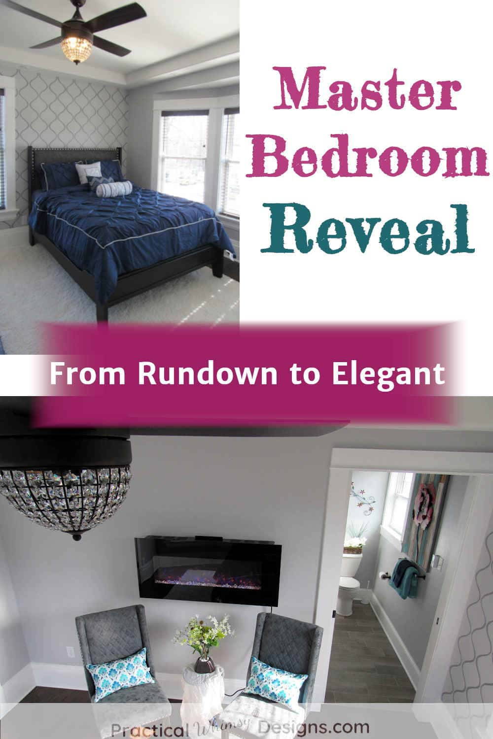 Master bedroom reveal with pictures of blue bed, light, and chairs