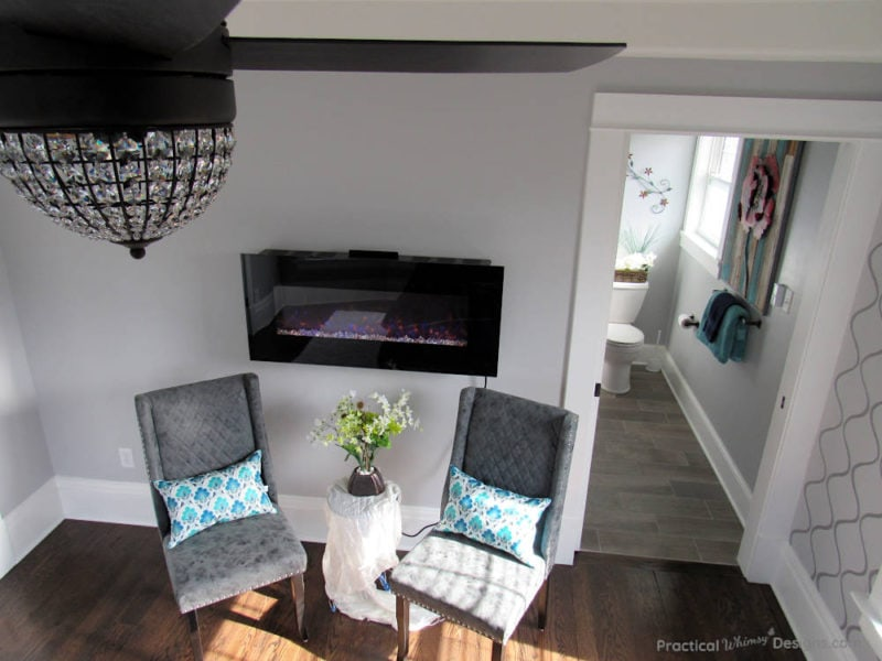 Chairs and electric fireplace