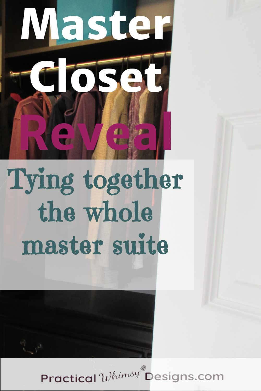 Master closet reveal, clothes hanging in closet