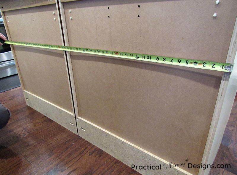 Measuring island cabinets horizontally