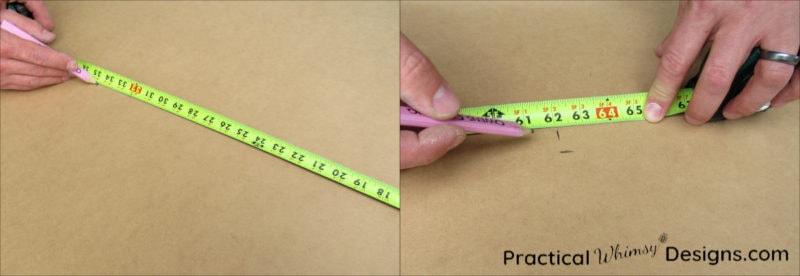 Marking measurement onto back of panel