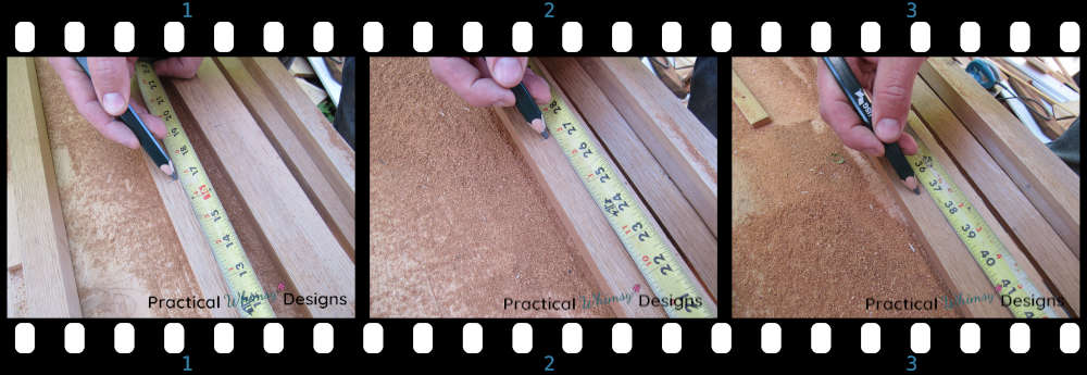 Marking correct measurement for cutting out boards for easy garden trellis diy