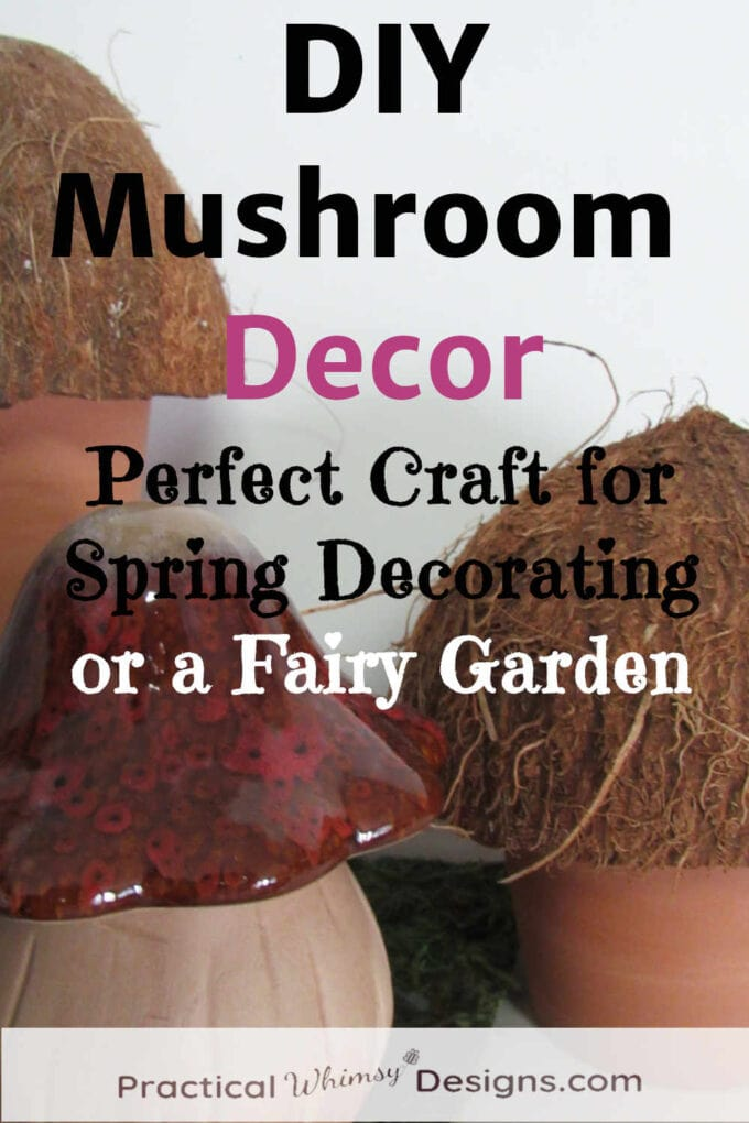 DIY mushroom decor out of coconuts