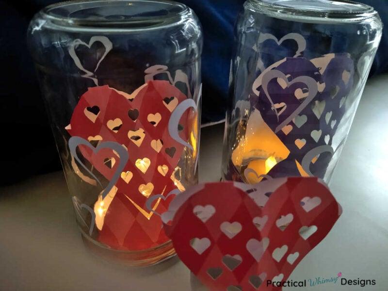 3D paper heart luminaries