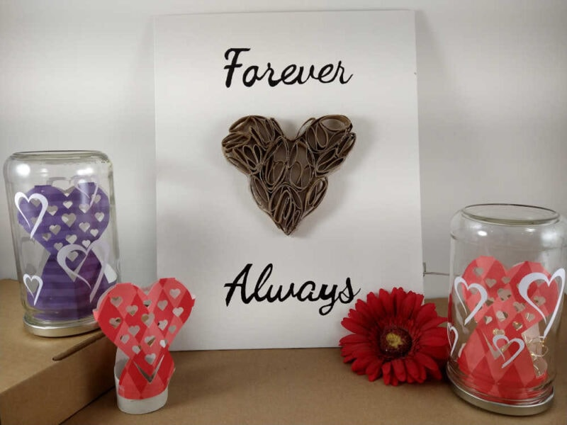 Heart decorative jar luminaries on display with forever and always heart canvas.