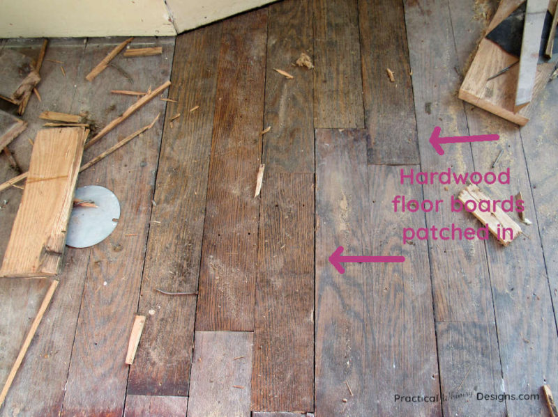 Hardwood floor boards patched in