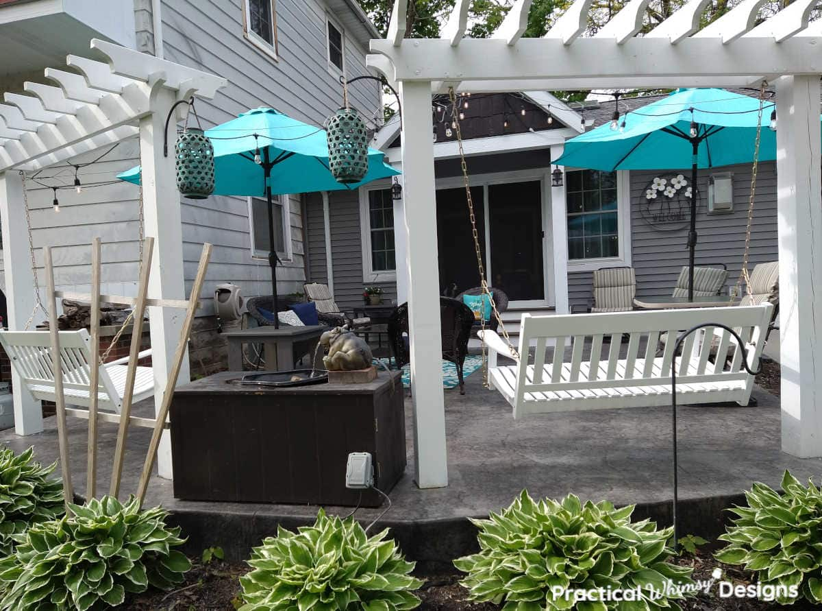 White diy wood pergola for wooden swing on patio