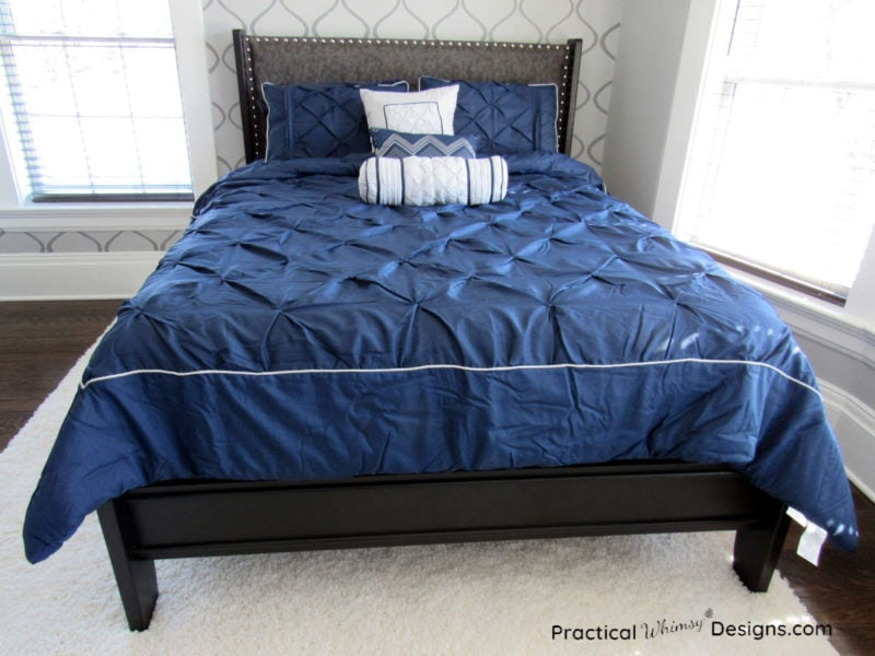 Modern queen bed makeover