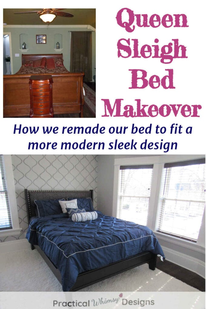 Queen sleigh bed before and after picture