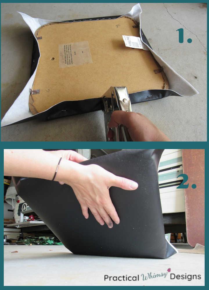 Stapling new vinyl on seat of chair.