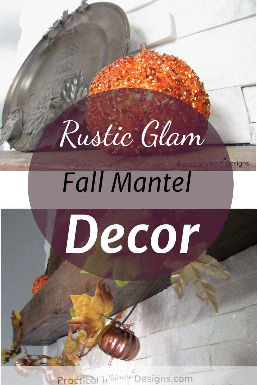 Rustic glam fall mantel decor with pumpkins and garland on mantel