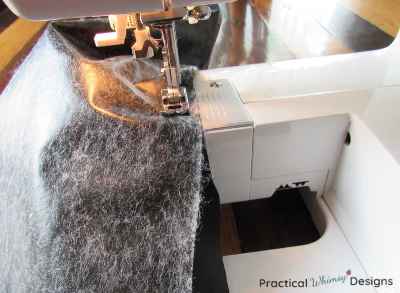 Sewing two pieces of vinyl together for chair back