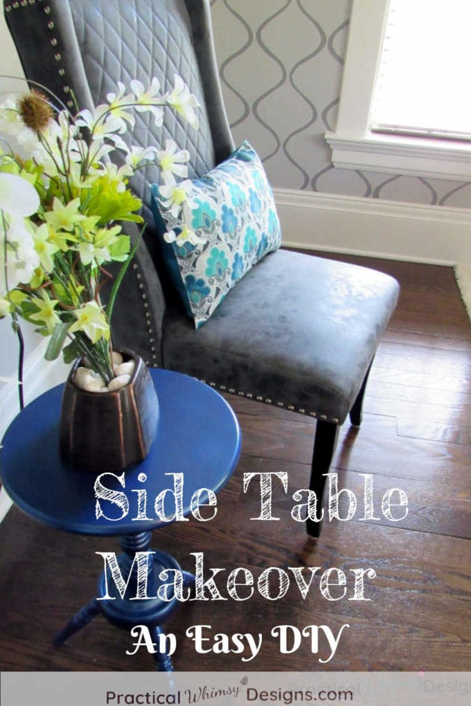 Side Table Makeover with paint. Table and chair in master bedroom.