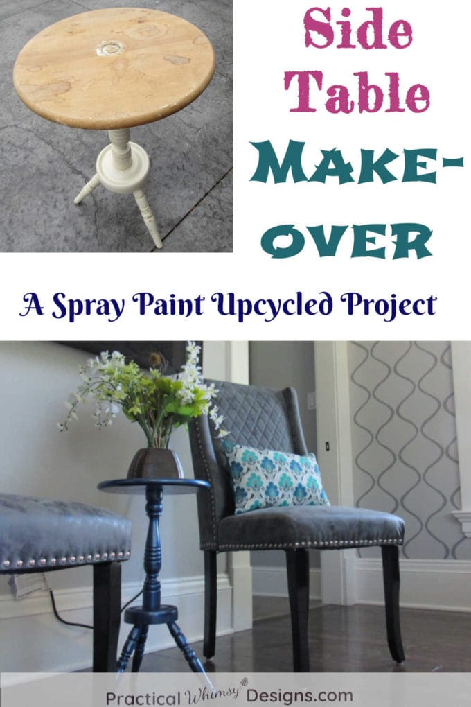 Side Table Makeover before and after pictures.