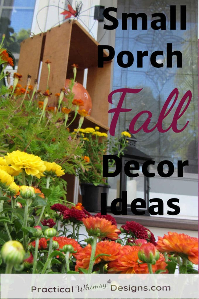 Small Porch Fall Decor Ideas: mums and decor on porch