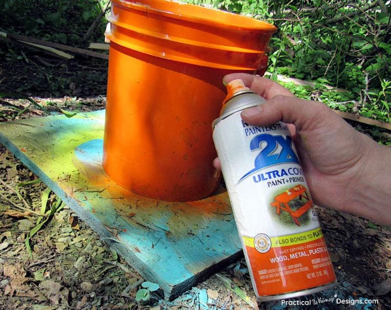Spray painting 5 gallon bucket