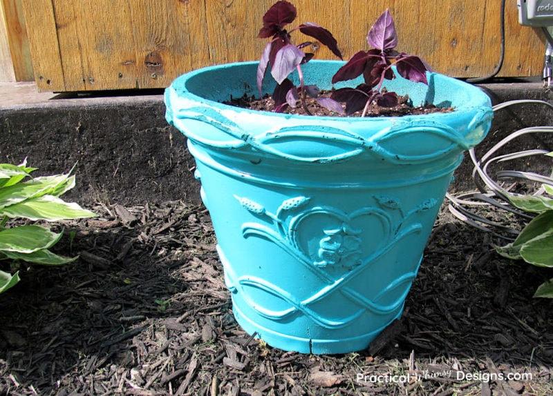 Spray painted foam flower pot