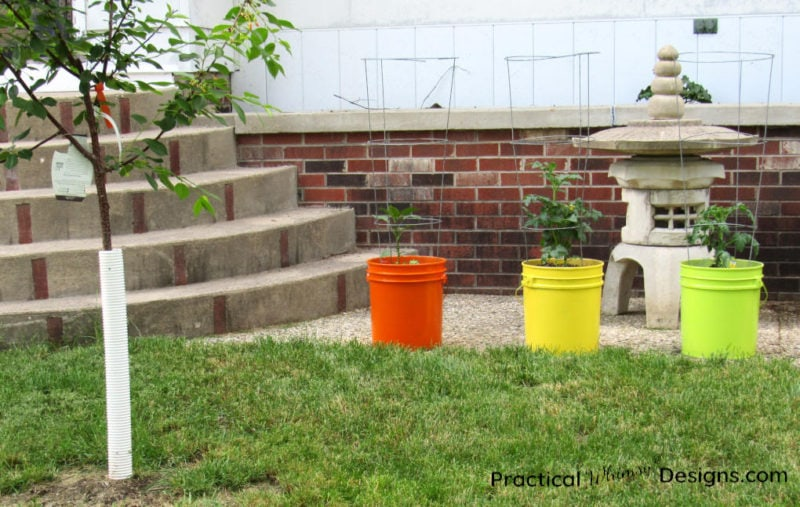 Spray painted plastic planter