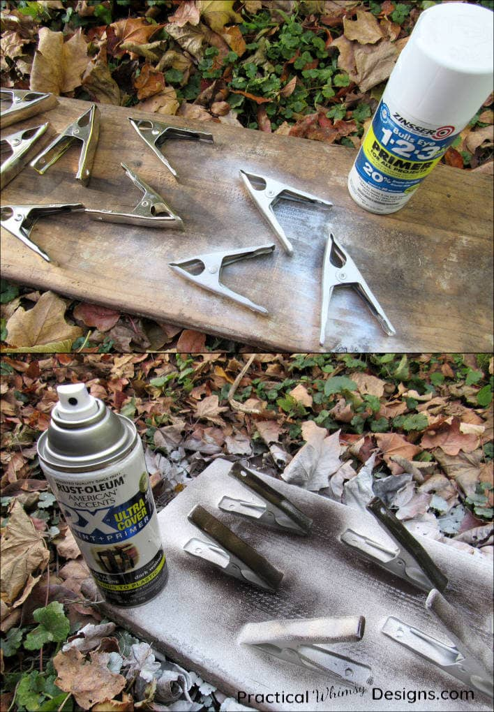 Spray painting metal clips