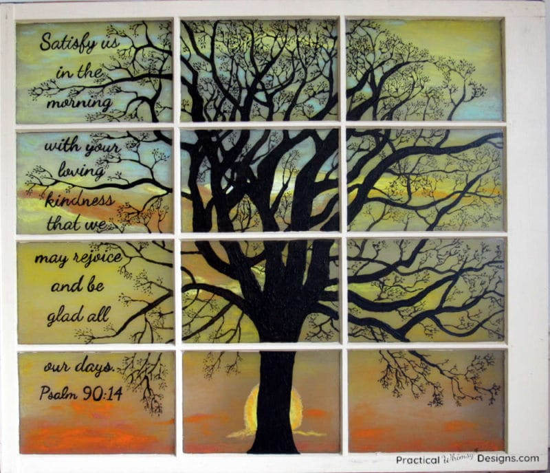 Stained glass window silhouette with painted tree