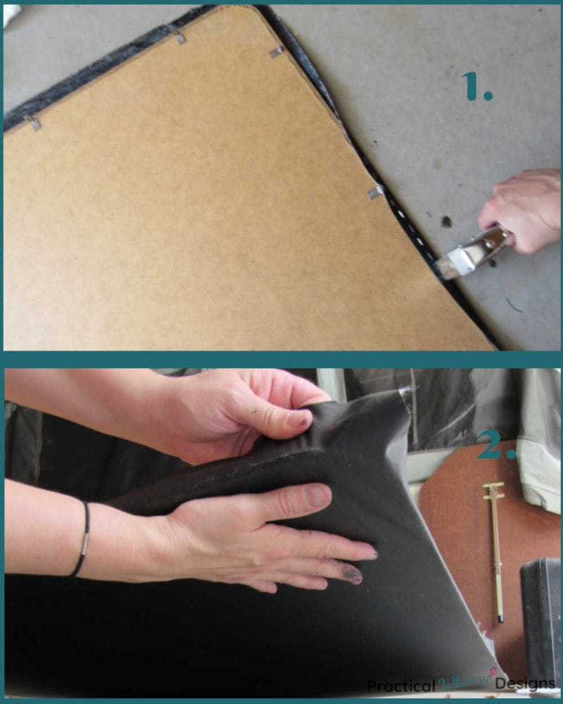 Smoothing out vinyl and stapling table edges on folding table