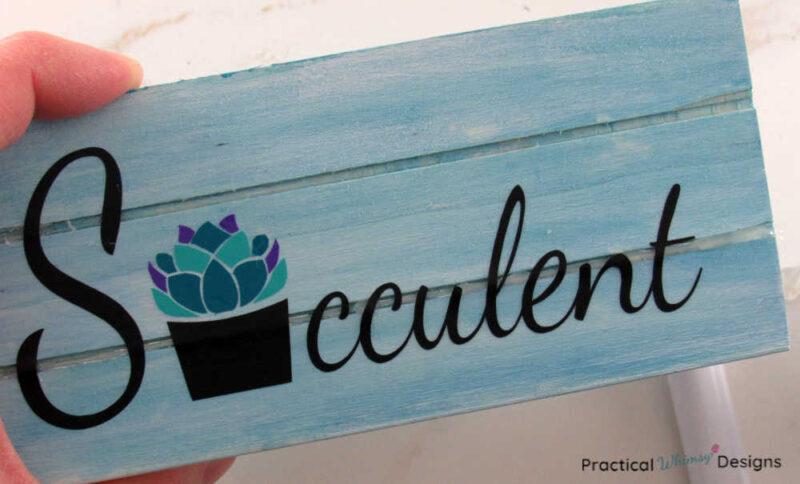Succulent vinyl letters on blue wooden crate