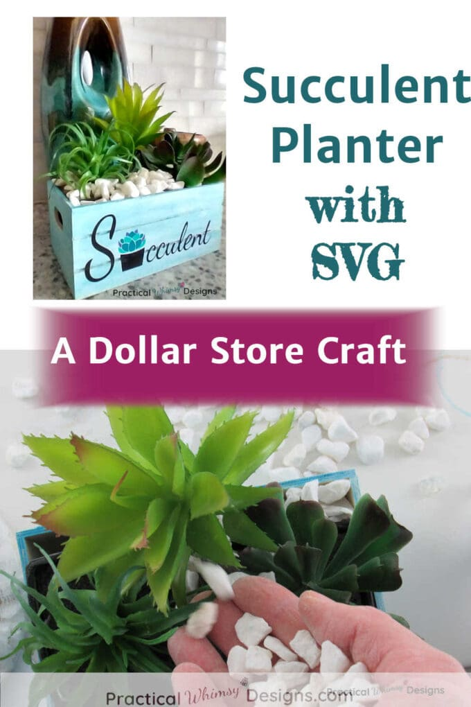 Teal Succulent planter crate with SVG file