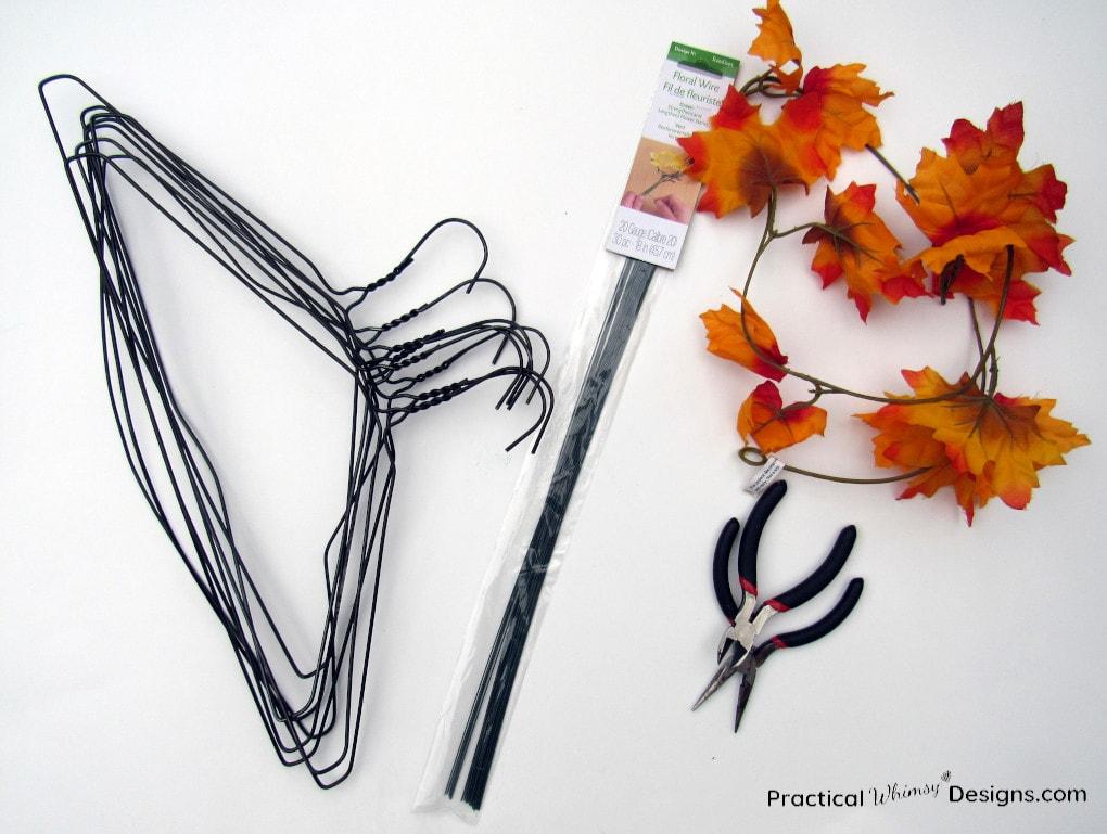 Supplies to make a wire pumpkin