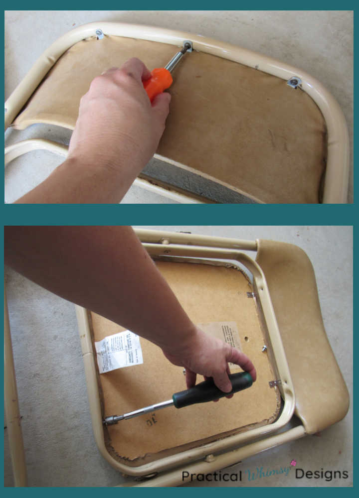 Removing seat and back of folding chair.