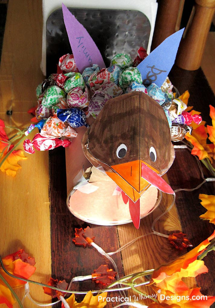 Thankful turkey craft on dinning table