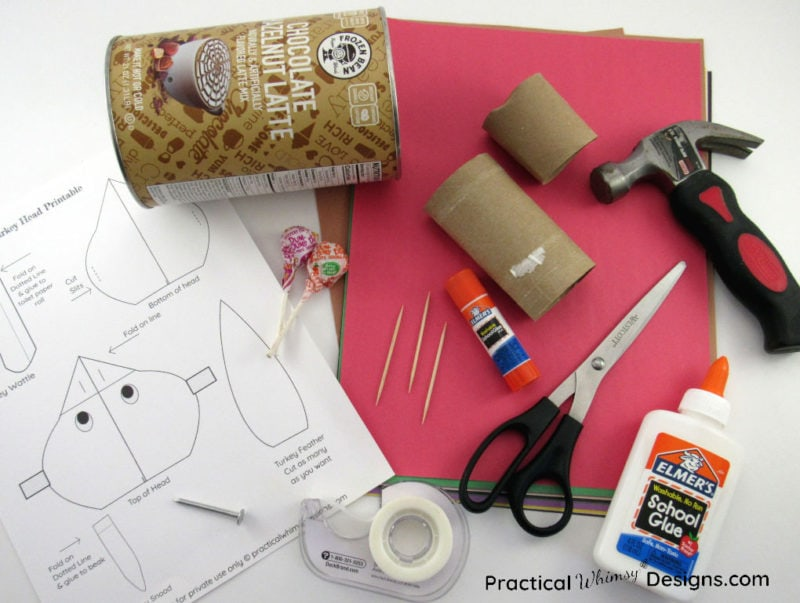 Supplies needed to make a thankful turkey craft