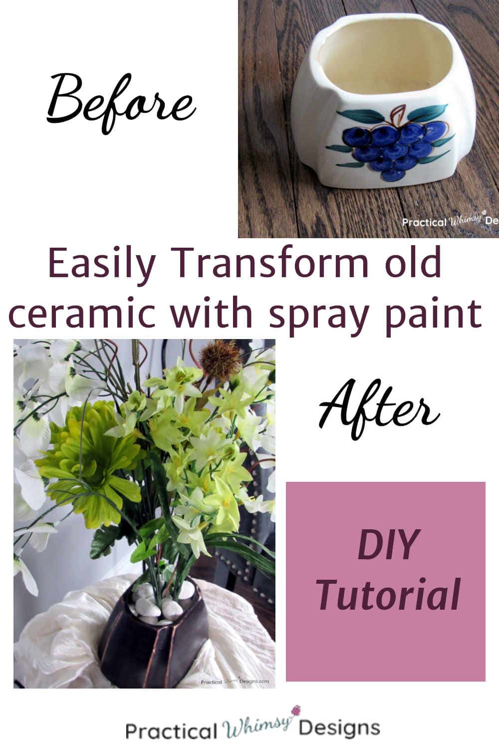 before and after pictures of ceramic vase painted like oil rubbed bronze