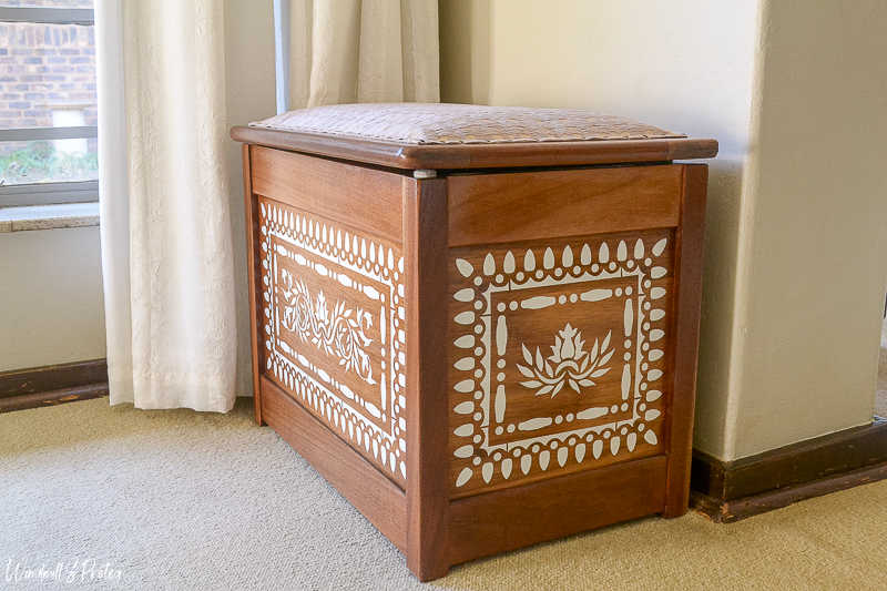 Faux bone inlay on wooden chest