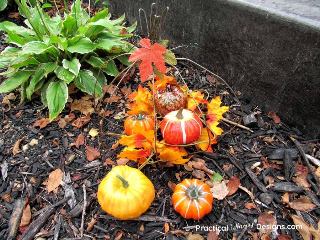 Wire pumpkin in the garden