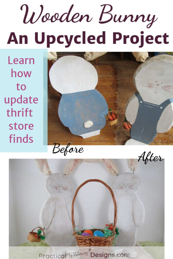 Wooden bunny decor before and after painting