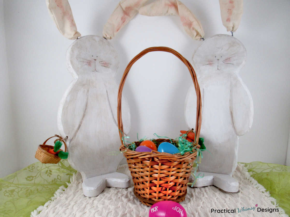 Large wooden bunny decor with easter basket